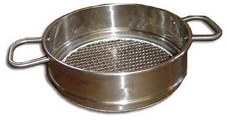 10″ dia. x 3″ high sieve frame with 2 externally mounted horizontal handles.