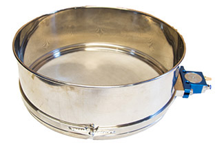Manual sieves from 10″ to 21″ spun metal dia. available with removable pneumatic drives. Shown with 16″ dia. x 6″ high sieve.
